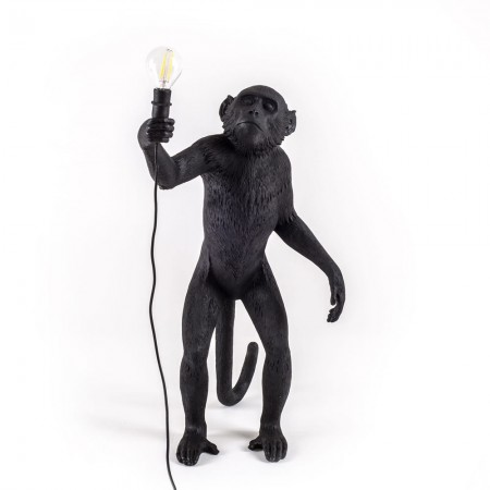 Seletti Standing Monkey Lamp (Black) - Red Candy