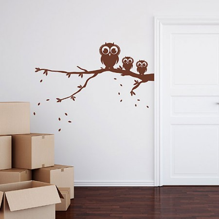 Owls On Branch Wall Sticker - Red Candy