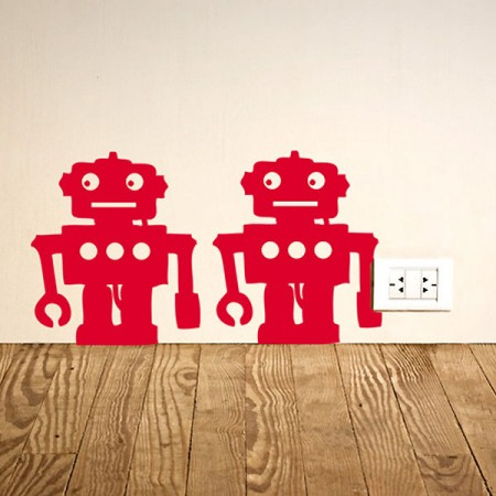 Robots Wall Sticker (Set of 12) - Red Candy
