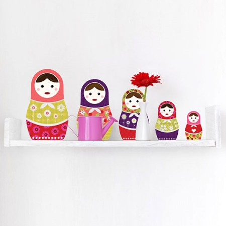 Russian Dolls Wall Sticker Set - Red Candy