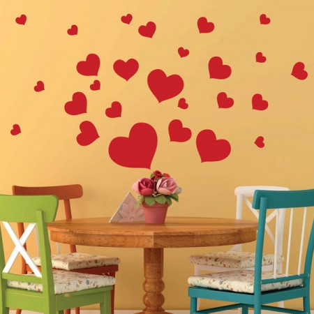 Heart Wall Stickers - Red Candy