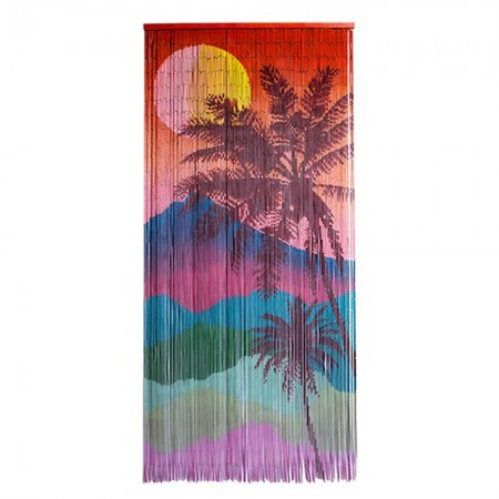 Sunset Bamboo Door Curtain - Red Candy