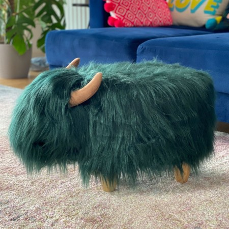 Tallulah the Teal Highland Cow Footstool - Red Candy