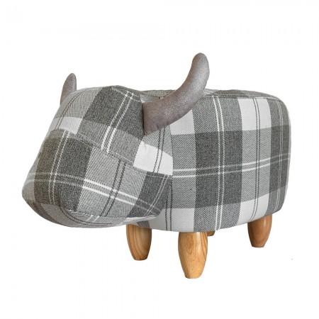 Tassie the Tartan Cow Footstool - Red Candy