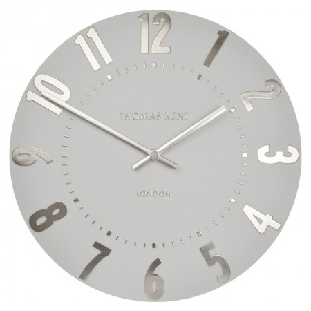 Thomas Kent Mulberry Clock (20 Inch Silver Cloud) - Red Candy