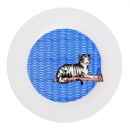 Tiger Swims Dinner Plate - Red Candy