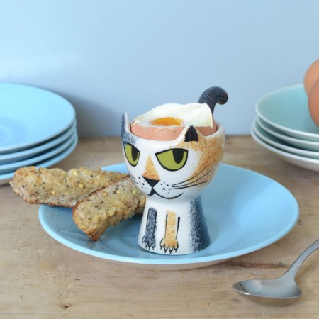 Tortoiseshell Cat Egg Cup - Red Candy