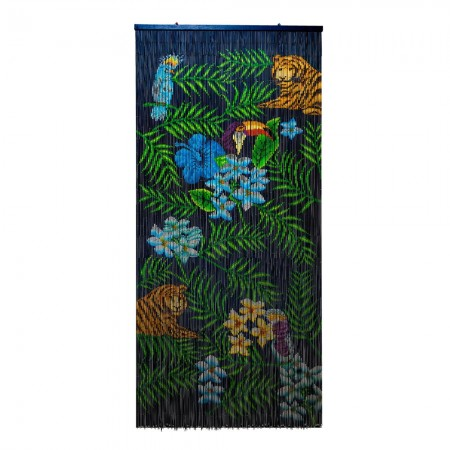 Tropical Bamboo Door Curtain - Red Candy