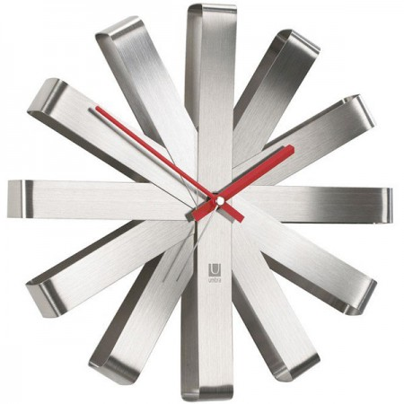 Umbra Ribbon Clock (Silver) - Red Candy
