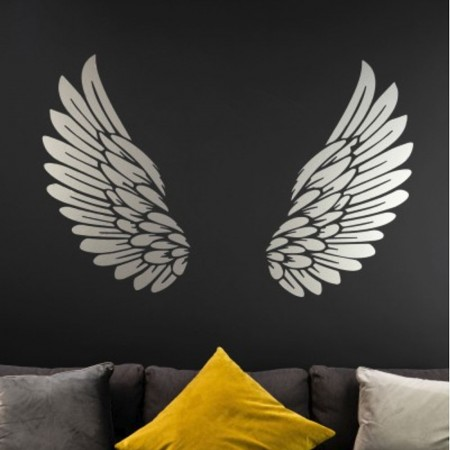 Silver Angel Wings Wall Sticker - Red Candy