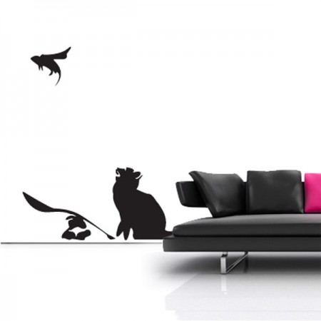 Banksy Cat and Mouse Wall Sticker - Red Candy