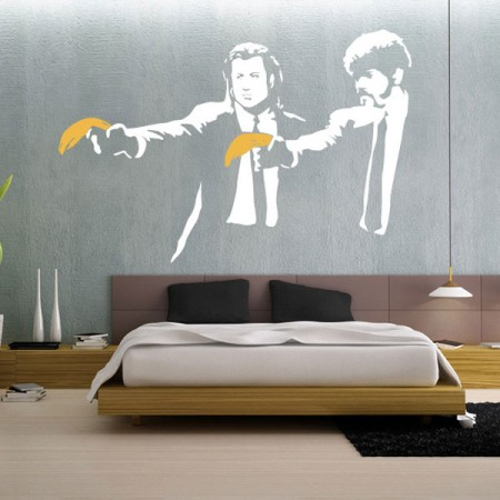 Banksy Pulp Fiction Wall Sticker - Red Candy