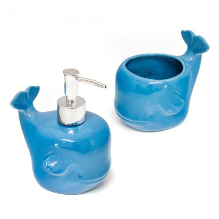 Walter Whale Soap Dispenser & Toothbrush Holder Set - Red Candy