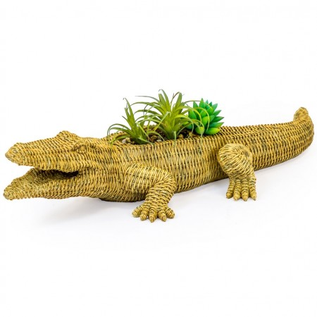 Waylen the Wicker Crocodile Planter - Red Candy