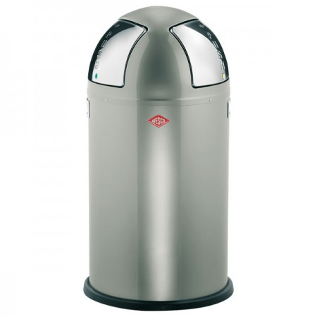 Wesco Push-Two Recycling Bin (New Silver) - Red Candy