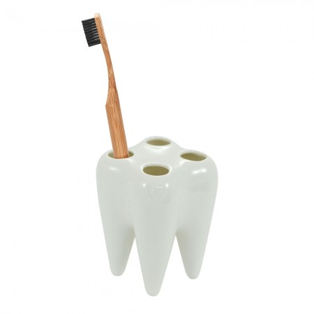 White Tooth Toothbrush Holder - Red Candy