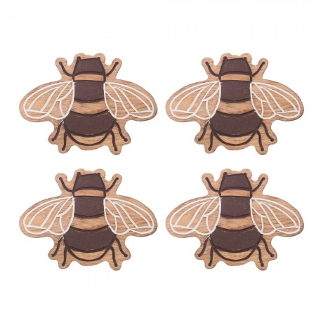 Wooden Bee Coasters (Set of 4) - Red Candy