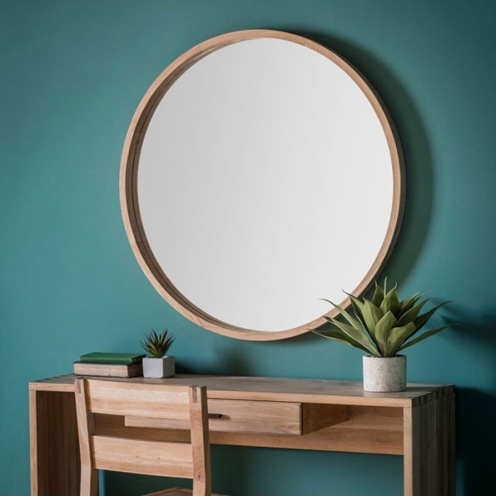 Large Round Natural Wood Mirror - 100cm