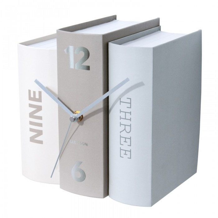 Karlsson Table Clock Book - Grey