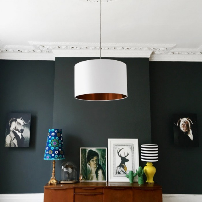 Cotton Lampshade - Crisp White & Brushed Copper