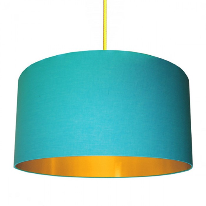 Cotton Lampshade - Sky Blue & Gold