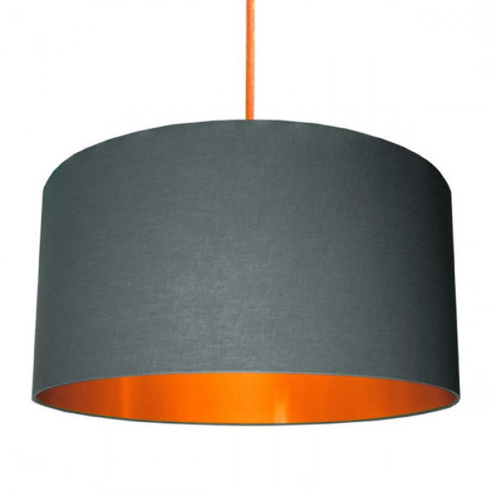 Cotton Lampshade - Slate Grey & Brushed Copper