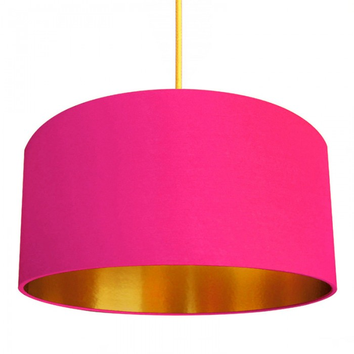 Cotton Lampshade - Watermelon Pink & Gold
