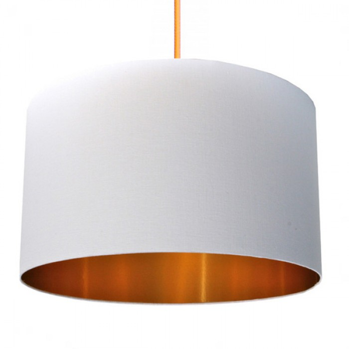 Cotton Lampshade - White & Gold