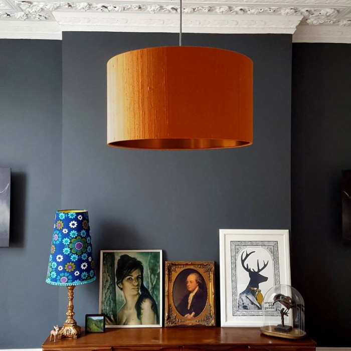 Indian Silk Lampshade - Burnt Orange & Brushed Copper