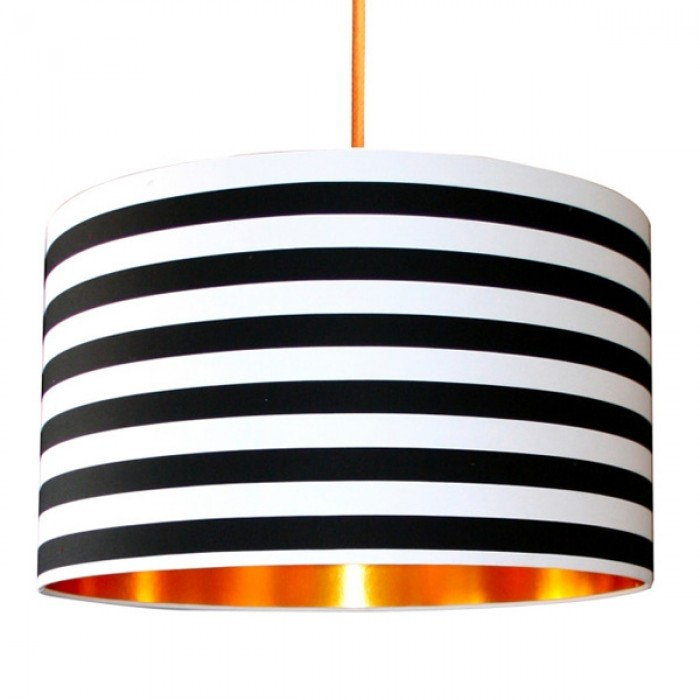 Fabric Lampshade - Circus Stripes & Brushed Copper