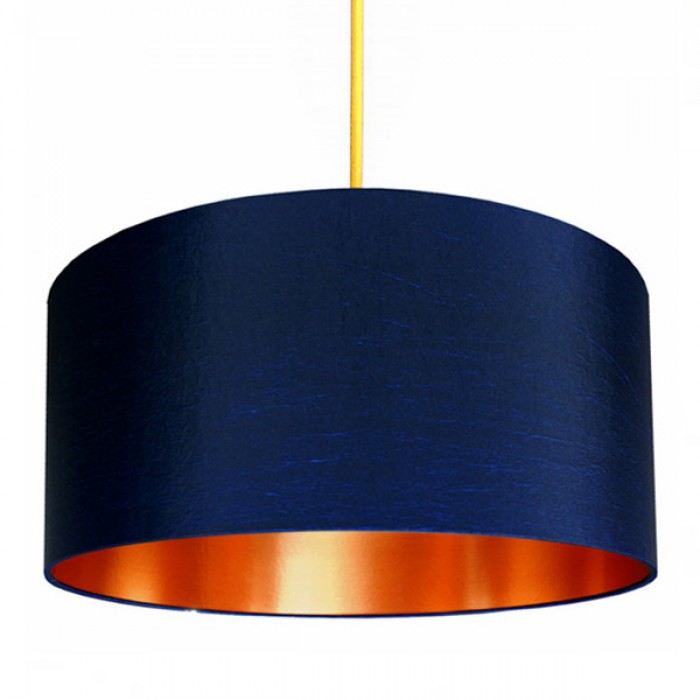 Fabric Lampshade - Midnight Blue & Brushed Copper