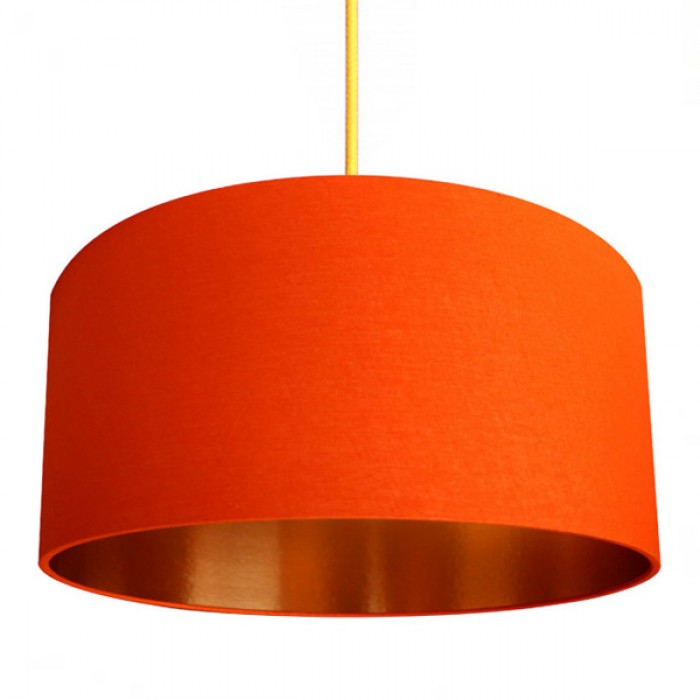Fabric Lampshade - Tangerine & Brushed Copper