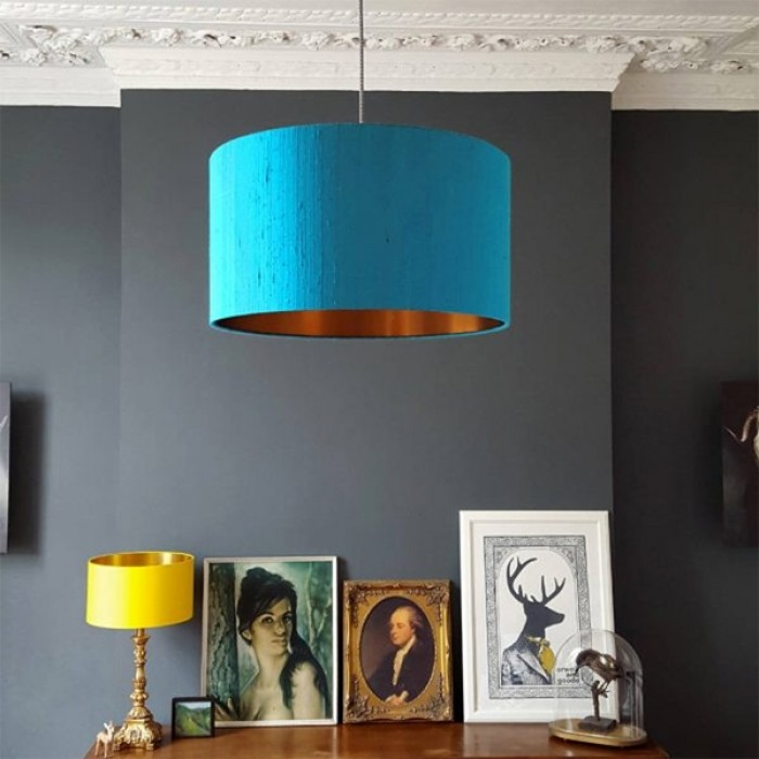Indian Silk Lampshade - Aqua & Brushed Copper