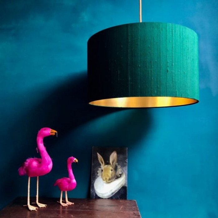 Indian Silk Lampshade - Forest Green & Gold