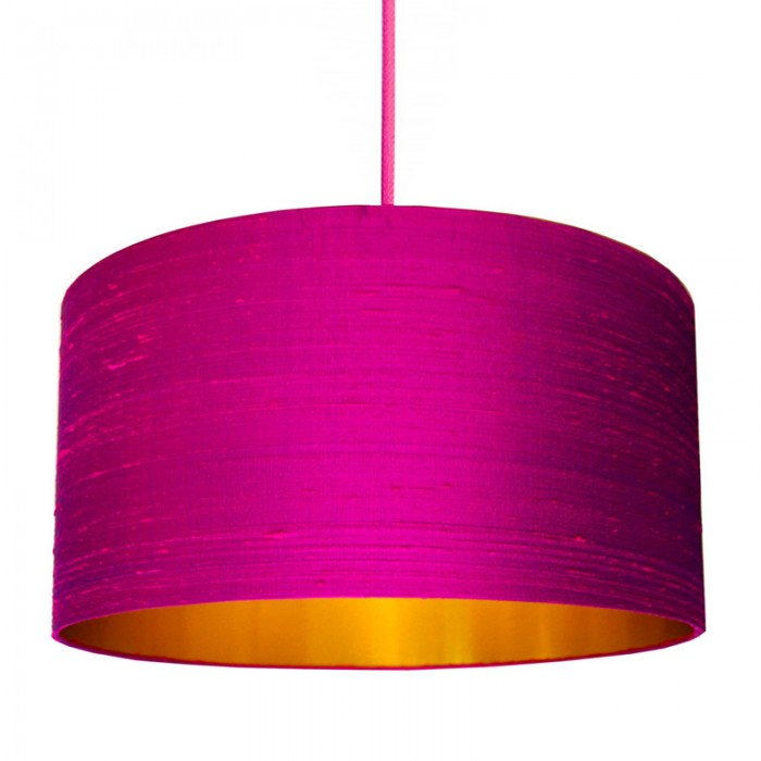 Indian Silk Lampshade - Hot Pink & Brushed Copper