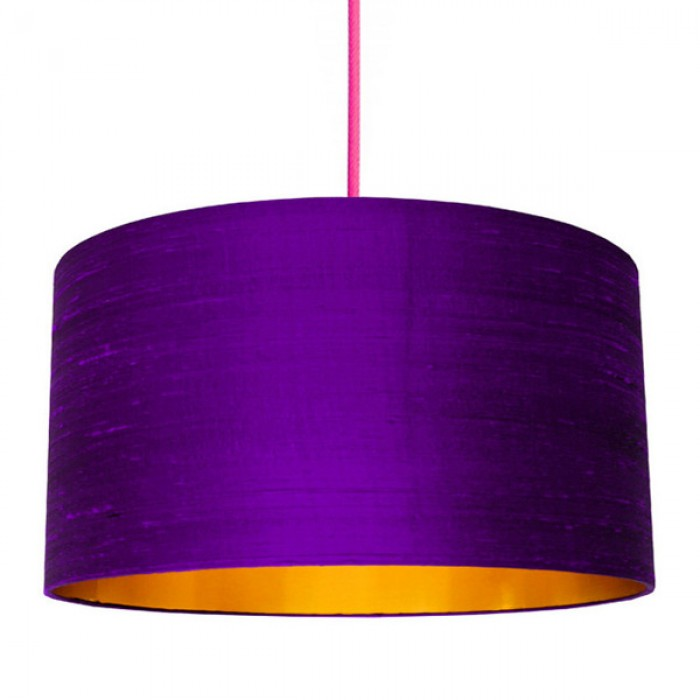 Indian Silk Lampshade - Ultra Violet & Gold
