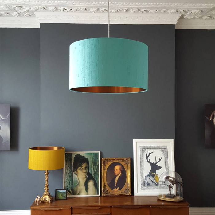 Indian Silk Lampshade - Mint & Brushed Copper