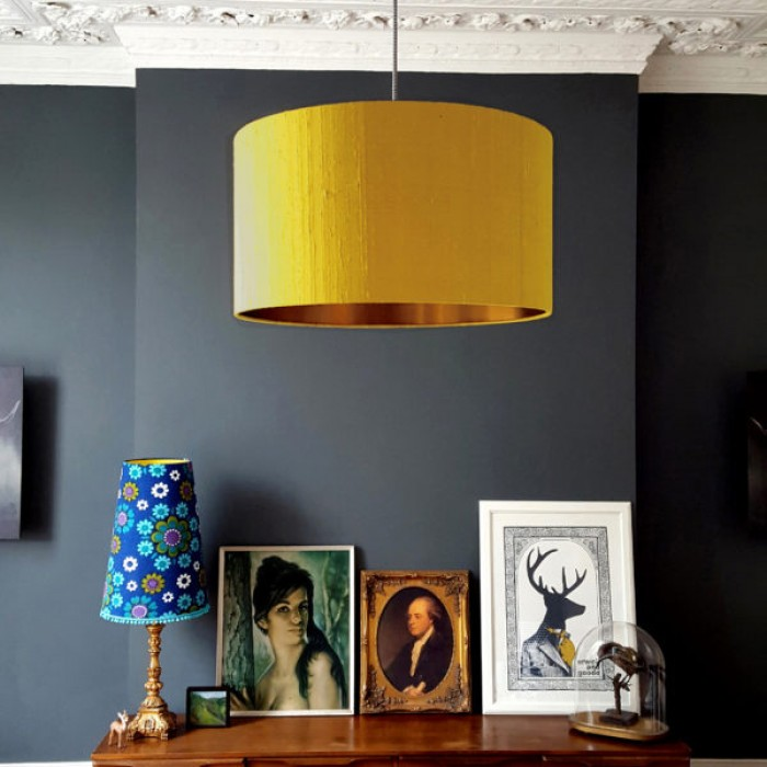 Indian Silk Lampshade - Mustard & Brushed Copper