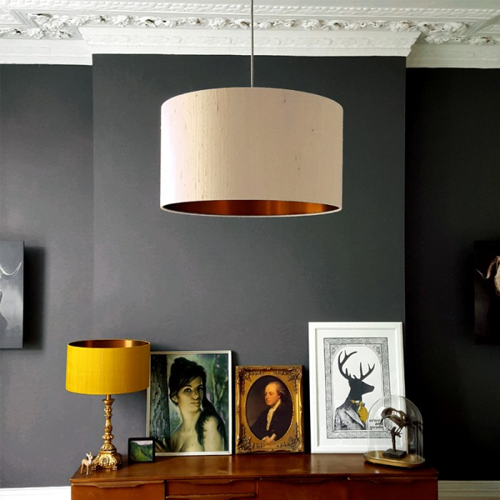 Indian Silk Lampshade - Pebble & Brushed Copper