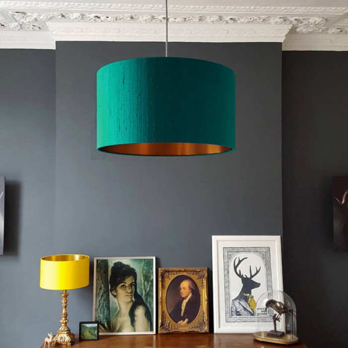 Indian Silk Lampshade - Teal & Brushed Copper