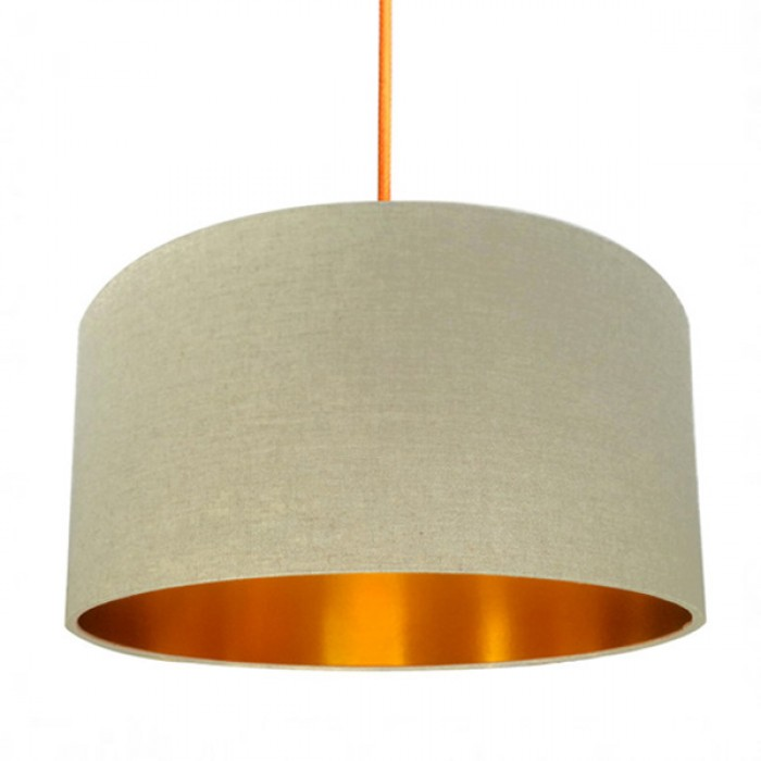 Linen Lampshade - Oatmeal & Gold