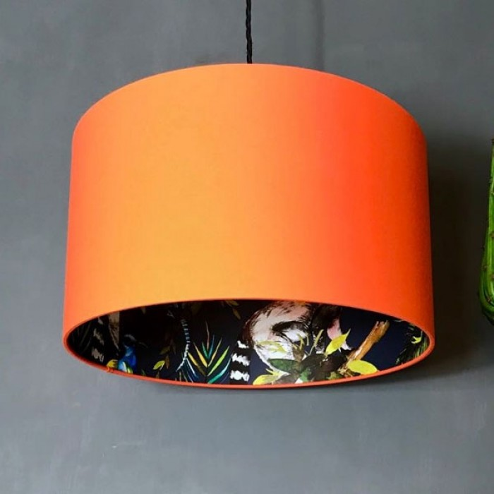 Silhouette Cotton Lampshade - Blue Lemur in Tangerine