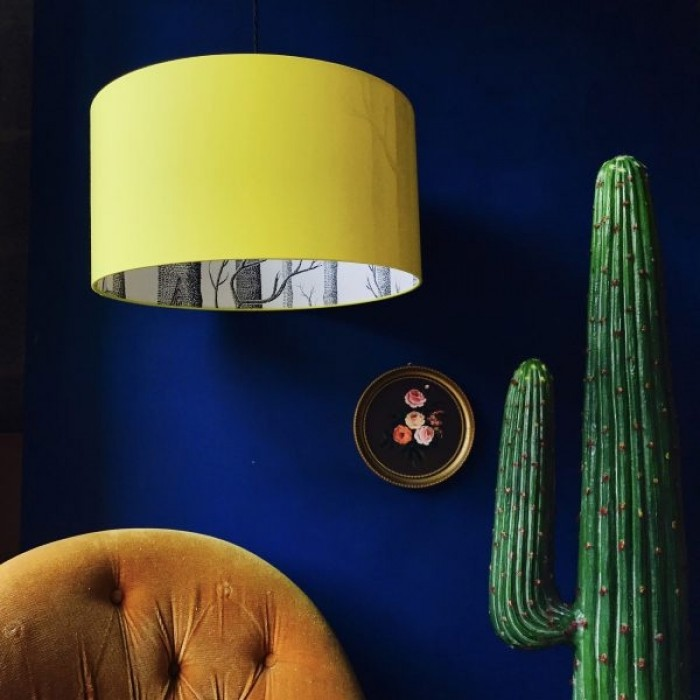 Silhouette Cotton Lampshade - Cole & Son The Woods in Yellow