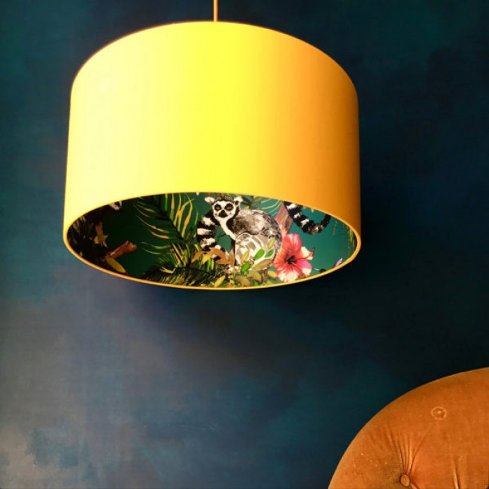 Silhouette Cotton Lampshade - Teal Lemur in Egg Yolk