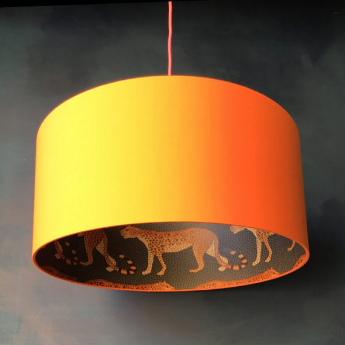 Silhouette Cotton Lampshade - Leopard in Tangerine