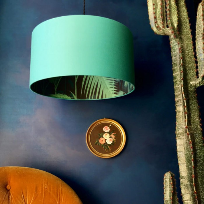 Silhouette Cotton Lampshade - Palm Jungle in Jade