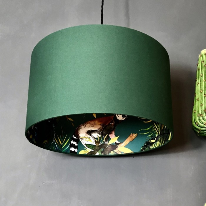 Silhouette Cotton Lampshade - Teal Lemur in Hunter Green