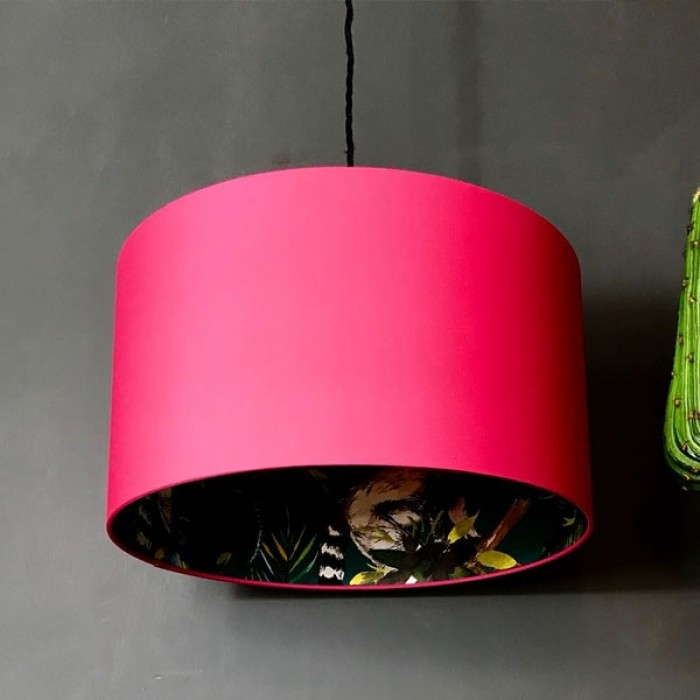 Silhouette Cotton Lampshade - Teal Lemur in Watermelon Pink