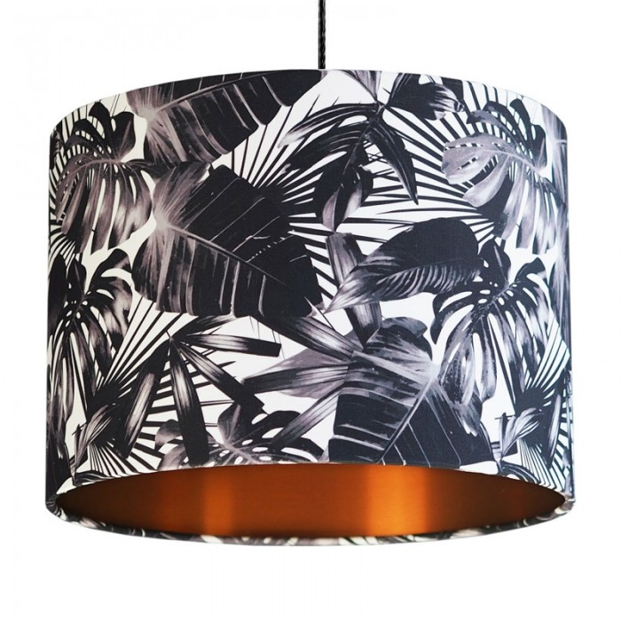 Black and White Cheese Plant Lampshade - Copper
