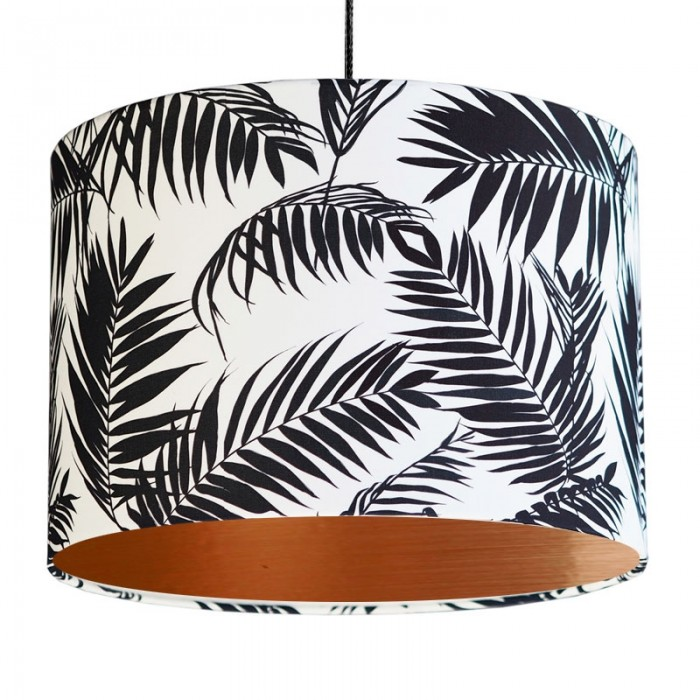 Black and White Tropical Leaf Lampshade - Copper